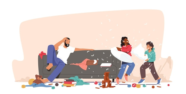 Pai chocado com o mau comportamento dos filhos