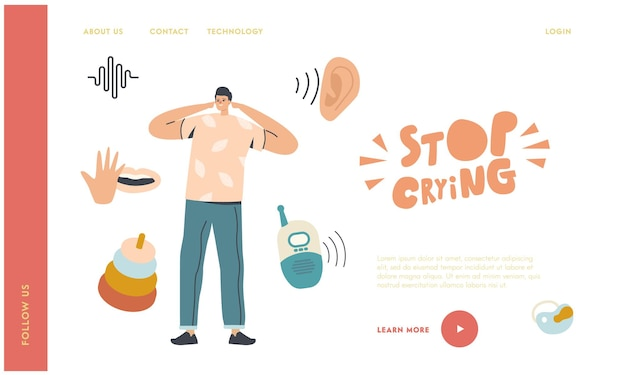 Pai cobrir orelhas sofrem de bebê grito landing page template.