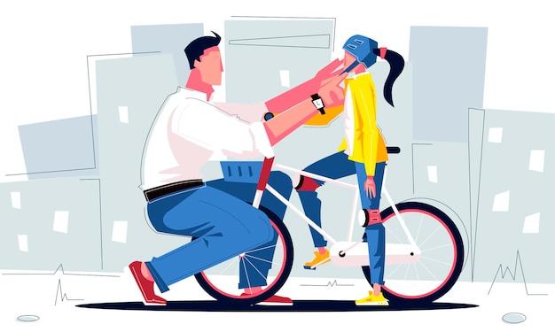 Pai colocando capacete de bicicleta na filha com ilustração de bicicleta