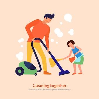 Pai com aspirador de pó e filha com vassoura e pá de lixo illutration