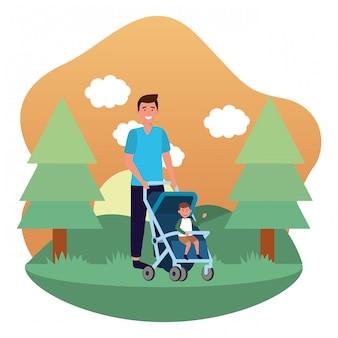 Pai, com, carruagem bebê