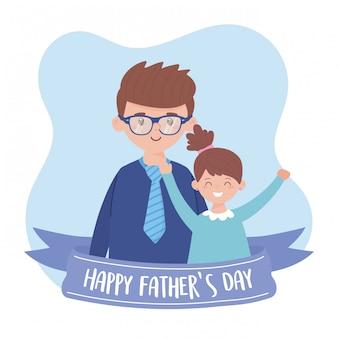 Pai com filha no dia dos pais com design de fita