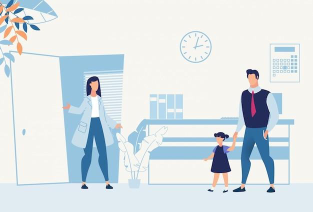 Pai com filha veio para desenhos animados de pediatra