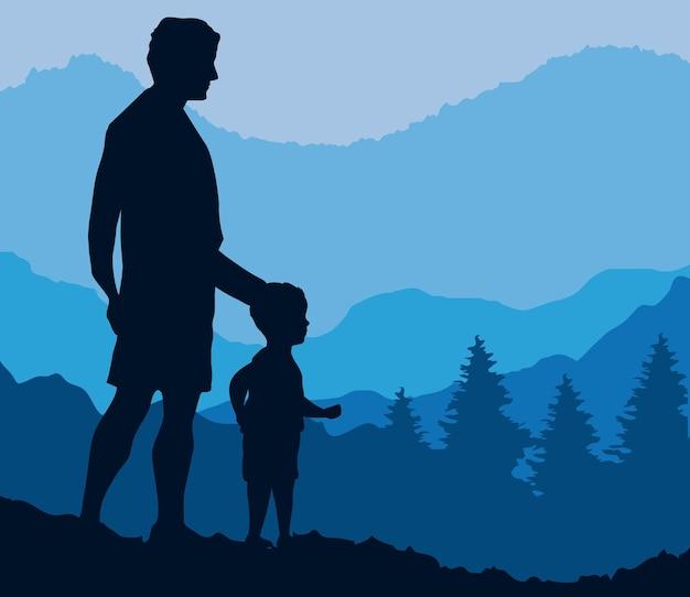 Pai com filho acene