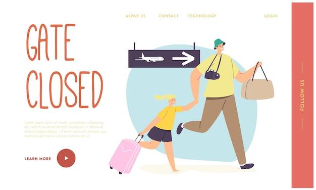 Pai com filho atrasado para modelo de página de destino de embarque de avião. personagens de homem e mulher preocupados correm com malas para portões fechados aborrecidos com o voo perdido no avião. ilustração em vetor desenho animado