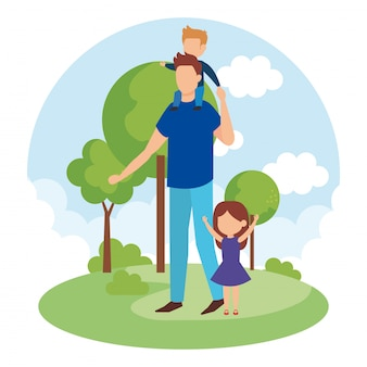 Pai com filho e filha