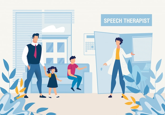 Pai com filhos na consulta do terapeuta da fala