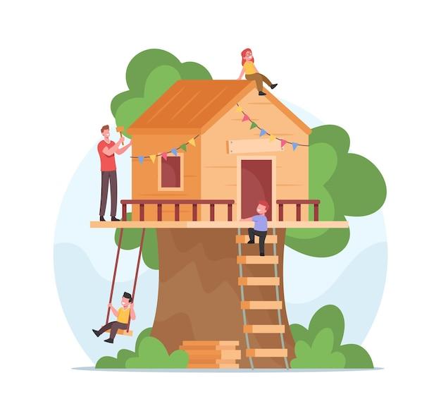 Pai com martelo constrói uma casa na árvore para crianças felizes. família passa tempo todos juntos. personagens de crianças alegres brincando