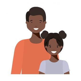 Pai, com, seu, filha, sorrindo, avatar, personagem
