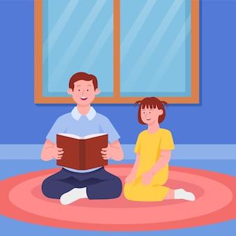 Pai contando histórias com filha