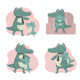 Pai crocodilo está feliz com seu bebê no dia dos pais. eles se abraçaram e brincaram alegremente