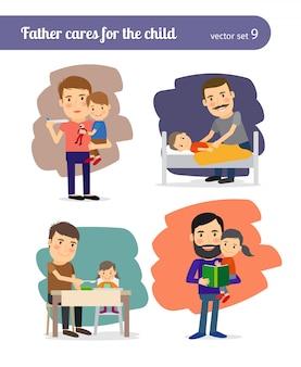 Pai cuida da criança.