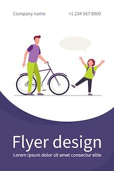 Pai dando bicicleta ao filho alegre. menino de cabelo vermelho, bolha do discurso, ilustração plana de bicicleta. modelo de folheto