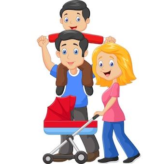 Pai, dar, seu, filho, carona piggyback