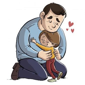 Pai, dar, um, abraço, para, seu, filha