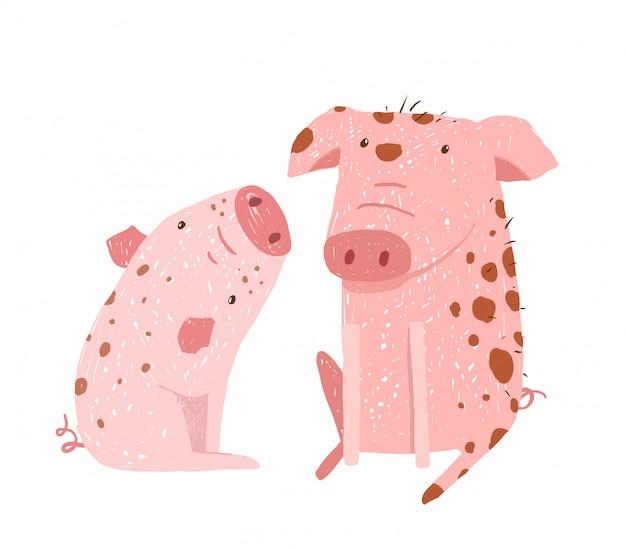 Pai de dois porcos e desenhos animados de criança
