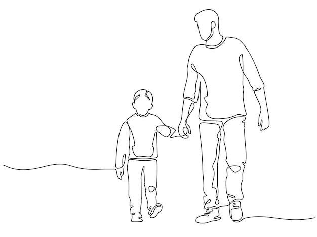 Pai de uma linha. pai caminhando com filho. cartaz de paternidade com homem e criança de mãos dadas. conceito de vetor de dia de pais feliz de linhas contínuas. pai alegre e filho despreocupado