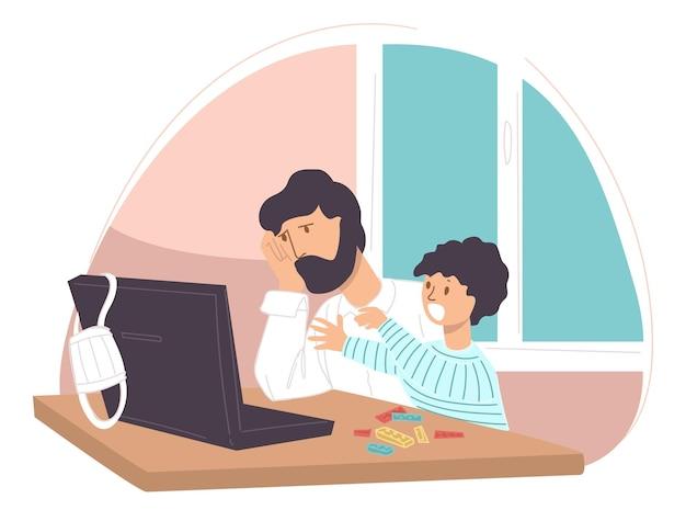 Pai deprimido ou triste com o filho sentado ao lado do laptop, assistindo a notícias ou lendo um artigo. homem chateado por causa da quarentena e crise, personagem masculino preocupado pensando nos problemas. vetor em estilo simples