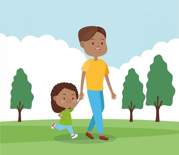 Pai dos desenhos animados e sua filha