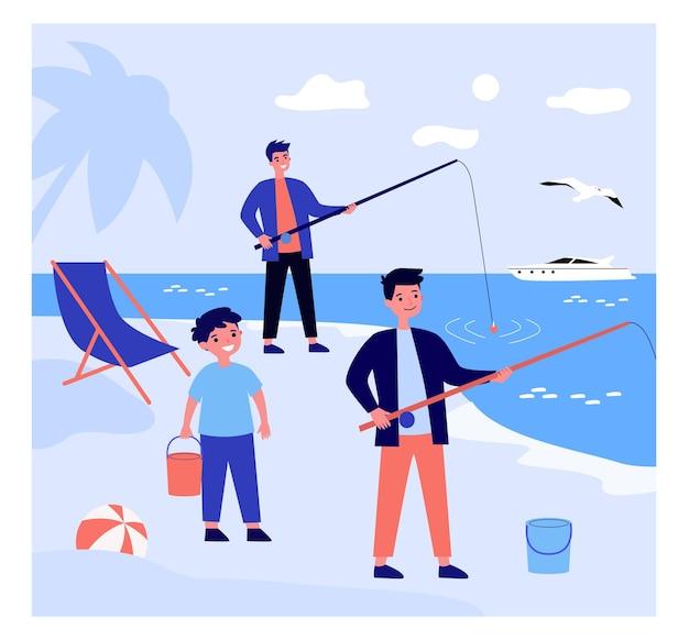 Pai dos desenhos animados pescando na praia com seus filhos.