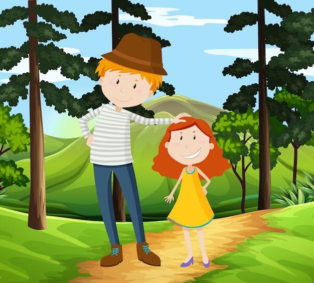 Pai e filha caminhando em um parque