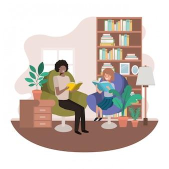 Pai e filha com livro no personagem de avatar de sala de visitas