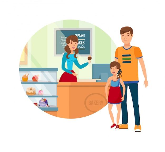 Pai e filha no elemento de design isolado de padaria