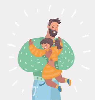 Pai e filha se abraçando