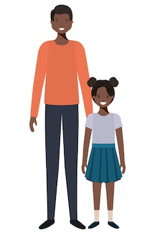Pai e filha sorrindo personagem avatar