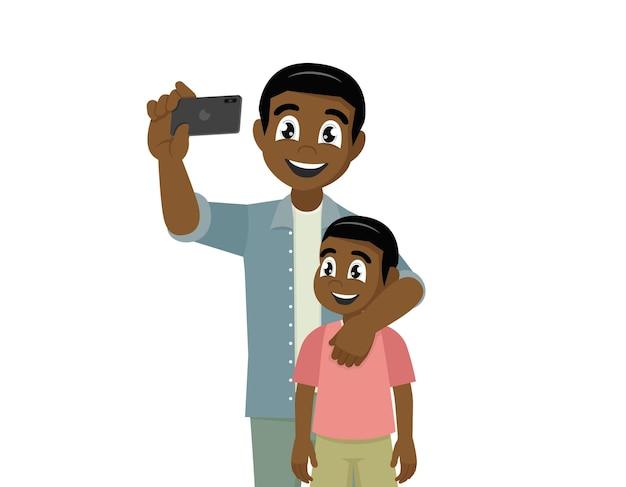 Pai e filho africanos tomando selfie bonito dos desenhos animados vetor eps10