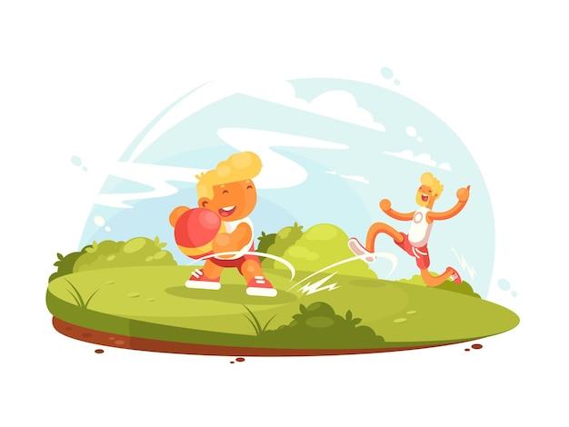 Pai e filho brincam com bola no gramado verde. ilustração