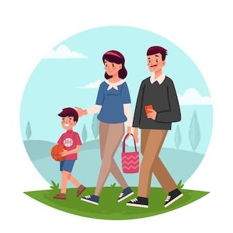 Pai e filho caminhando no parque