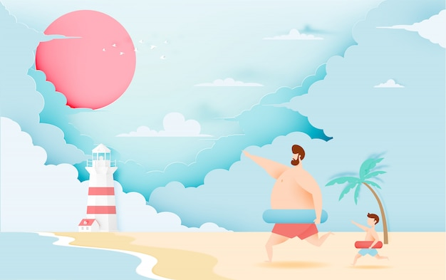 Pai e filho com anel de natação com bela praia e céu