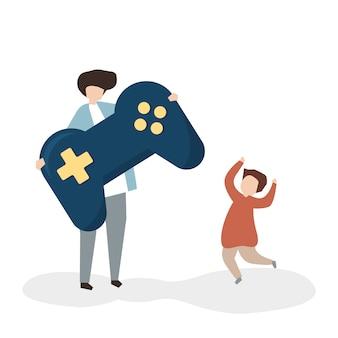 Pai e filho com um controle de jogo