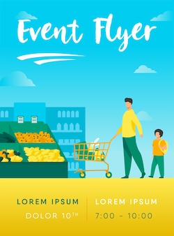 Pai e filho comprando comida em modelo de folheto de supermercado