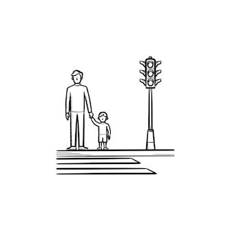 Pai e filho cruzando um ícone de esboço desenhado à mão na calçada