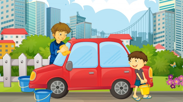 Pai e filho de carro de limpeza