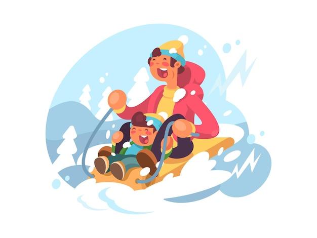Pai e filho descendo colinas de trenó no inverno. ilustração