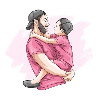 Pai e filho desenhados à mão para o dia dos pais