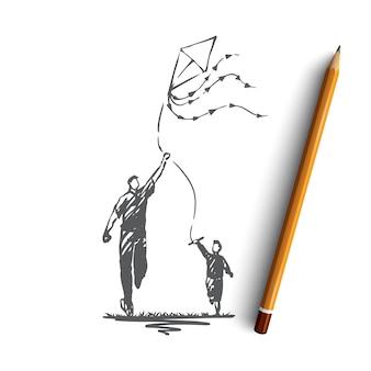 Pai e filho desenhados à mão