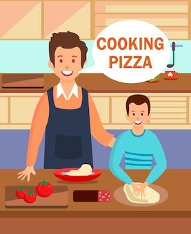 Pai e filho, desfrutando de processo de cozimento de jantar