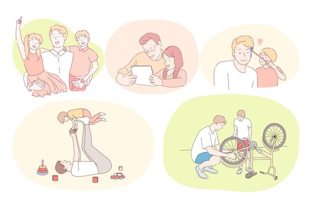Pai e filho, dia dos pais, atividades com o conceito de crianças. pais jovens brincando com crianças