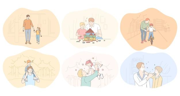 Pai e filho, dia dos pais, atividades com o conceito de crianças.