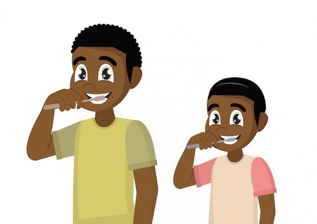 Pai e filho escovam os dentes com pasta de dente.