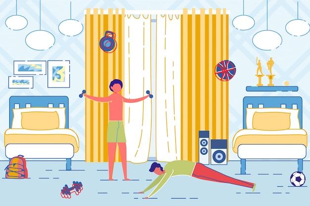 Pai e filho fazendo exercícios de manhã no quarto.