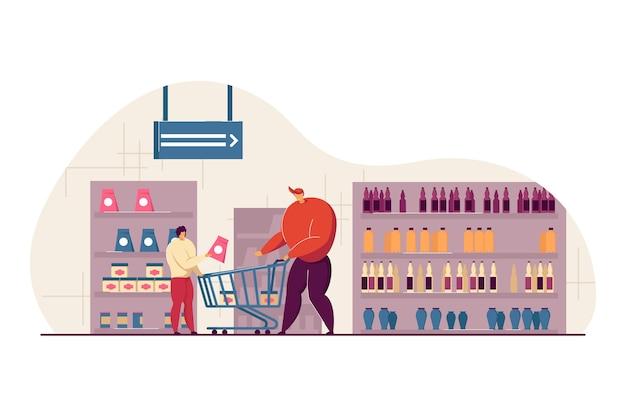 Pai e filho felizes comprando comida em ilustração plana de supermercado