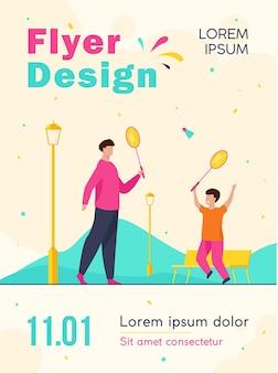 Pai e filho jogando badminton no outono park flyer template