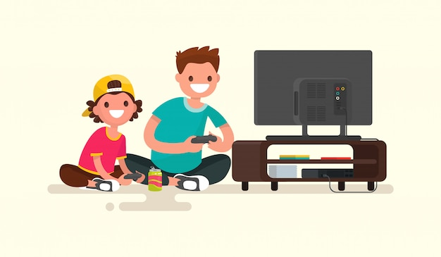Pai e filho jogando videogame em uma ilustração de console de jogos
