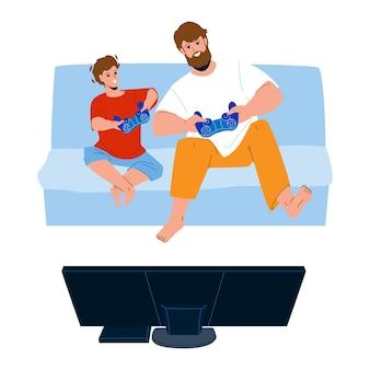 Pai e filho jogando videogame juntos vetor. homem e menino pré-adolescente segurando o joystick, jogando videogame na sala de estar. personagens engraçados, lazer e diversão, ilustração plana dos desenhos animados Vetor Premium