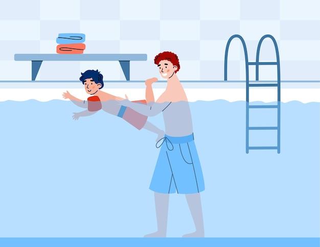 Pai e filho juntos na ilustração vetorial dos desenhos animados da piscina